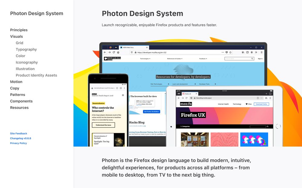 Homepage of the Firefox Photon Design system website