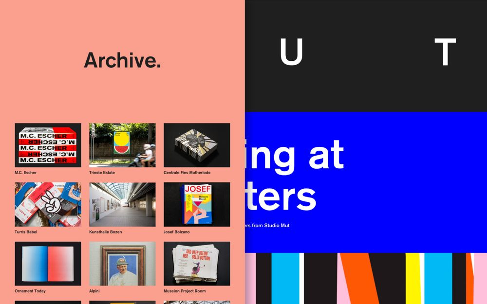Studio Mut website with the archive modal open